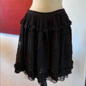 Valentino red ruffle polka dot silk and lace skirt